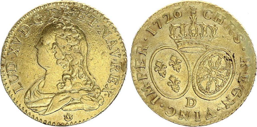 France Louis d\'or, Louis XV - 1726 D Lyon - Gold