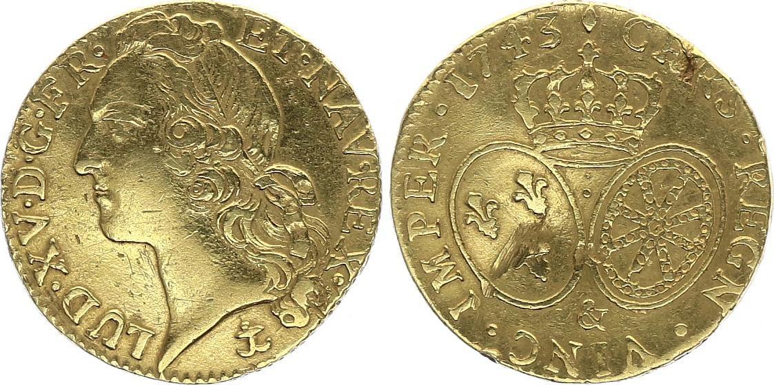 France Louis d\'or, Louis XV au Bandeau - 1743 Aix en Provence