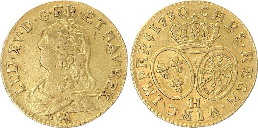France Louis d\'or, Louis XV aux lunettes - Or - 1730 H La Rochelle