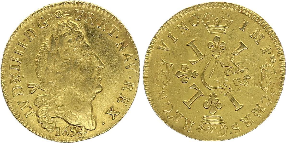 France Louis dor, Louis XIV (1643-1715) aux 4 L