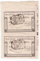 France Pair 2 x 5 Francs Mandat Territorial - 28 Ventose An IV (18.3.1796) - Cachet Noir - SUP +
