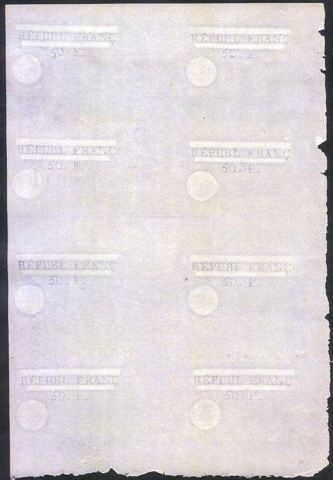 France Projet d´Assignat 50 F planche 8 ex.