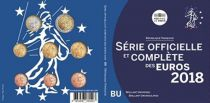 France Proof BU Set 2018 -  8 Euros coins 1 cent to 2  Euros