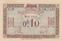France R.2 0.10 Franc, Franco-Belgian Railways - 1923