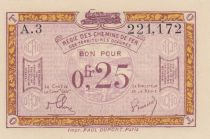 France R.3 0.25 Franc, Franco-Belgian Railways - 1923