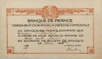 France Reçu de versement d\'or pour la Défense Nationale 1915 - TTB+