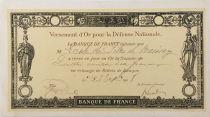 France Reçu de versement d\'or pour la Défense Nationale 1918 - Haute-Marne - Baissey - TTB