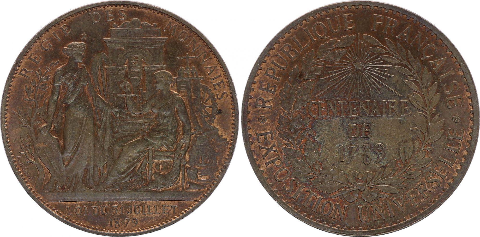 France Régie des Monnaies - Centenaire de 1789 - Exposition Universelle de 1889