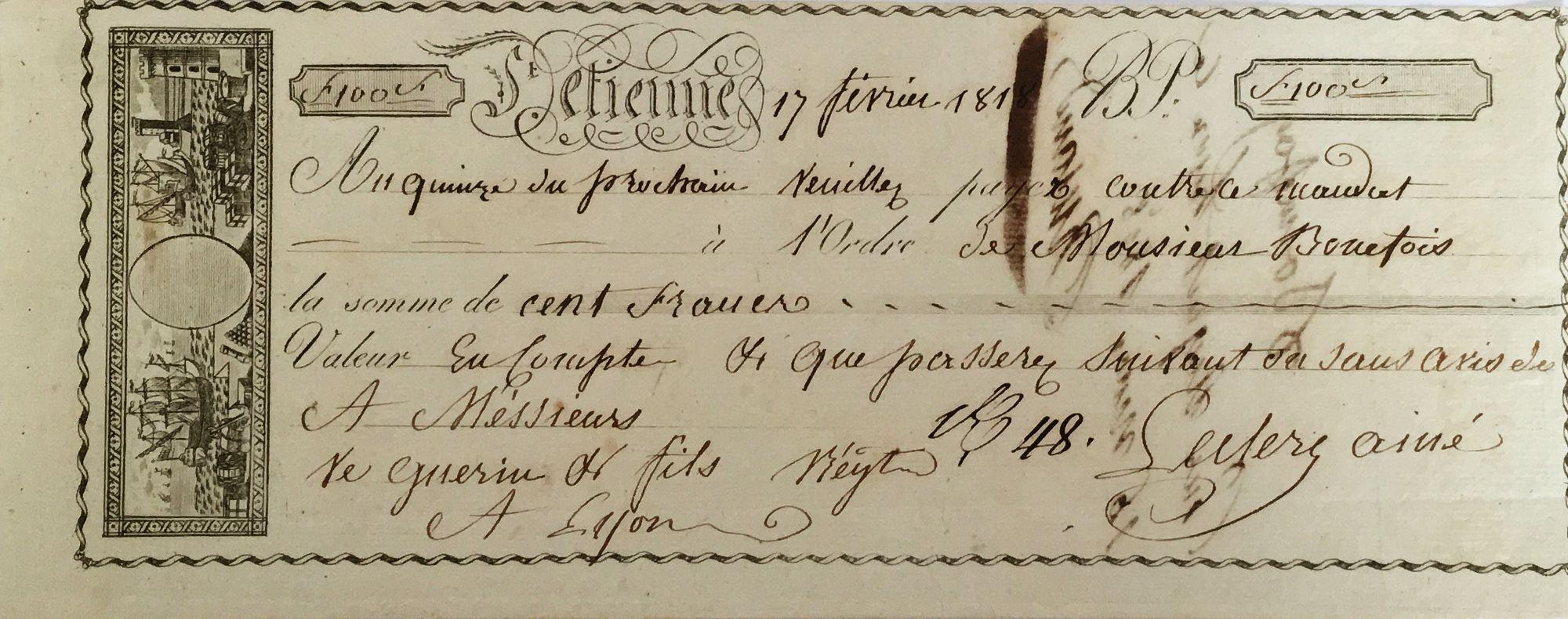 France Saint-Etienne - Mandat de 100 Francs - 1818 - SUP