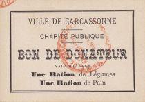 France Sans valeur Carcassonne Bon de donateur pour une ration de pain et légumes