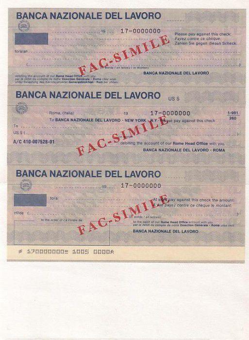 France Série 3 chèques de la Banca Nazionale del Lavoro non émis de la banque avec la mention rouge Fac-Sim - 1981