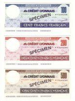 France Série 3 Spécimens Traveller-Check du Crédit Lyonnais , France Contient 100, 200 et 500 F, avec sa plaquette de présentati