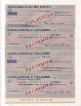 France Série 4 chèques de la Banca Nazionale del Lavoro , Italie Série présentée sur sa plaquette d´origine - 1981