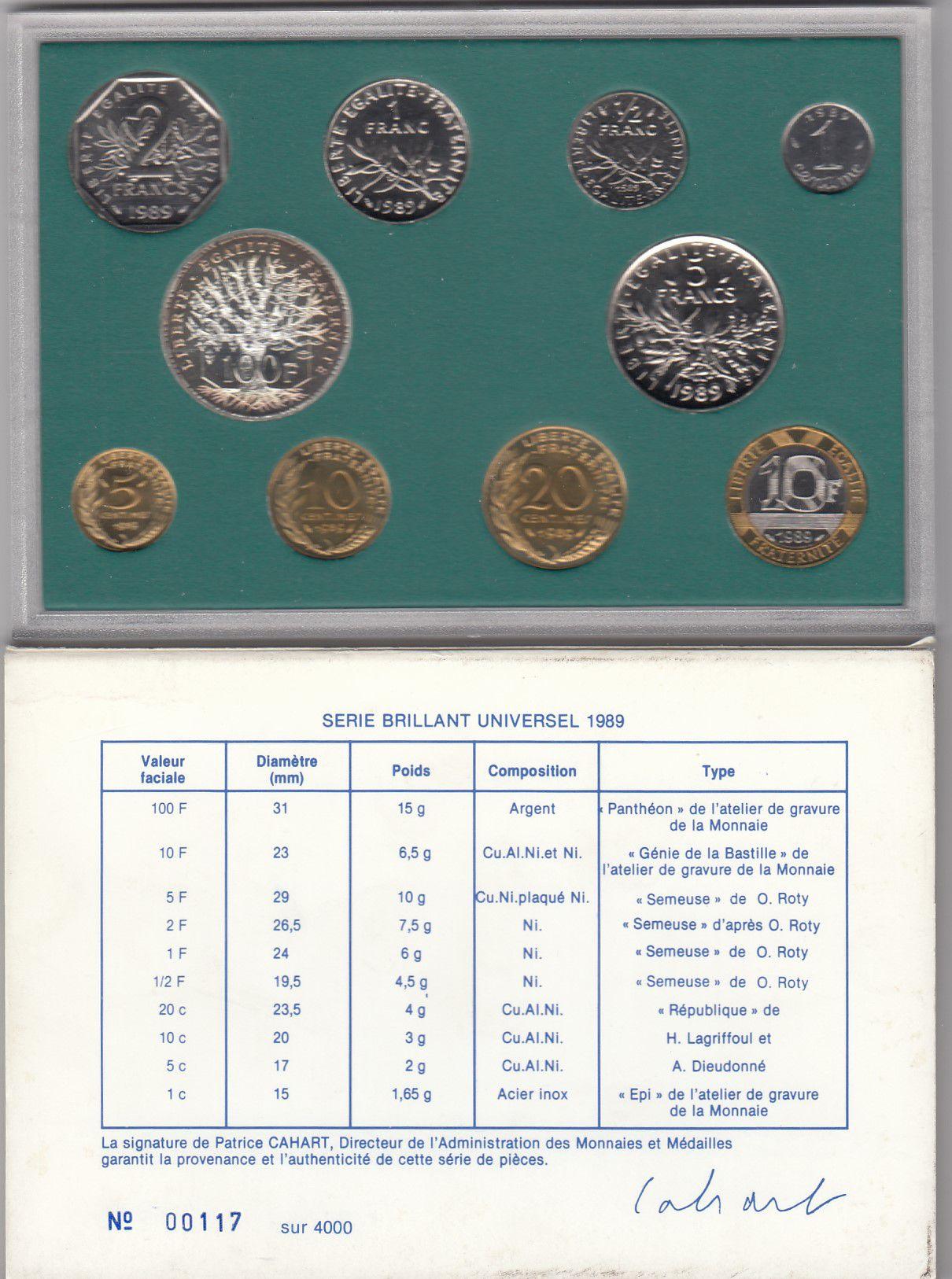 France Série Coffret BU 1989 - Monnaie de Paris 10 pièces - SPL