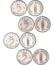 France Série de 4 pièces de 5 Centimes EPI - 1961 à 1964