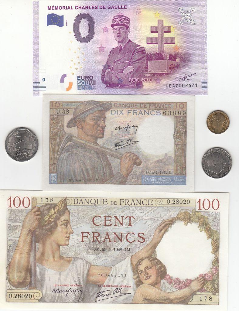 France Série Histoire de France Seconde Guerre Mondiale - 3 Billets - 3 Monnaies