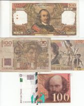 France Set 4 notes of 100 Francs - F to VF