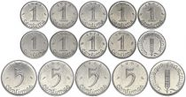 France Set of 13 coins - 1 and 5 centimes Epi