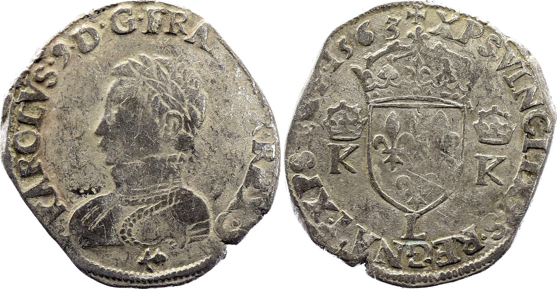 France Teston Charles IX - 1563 L Bayonne  - Argent - 4 ème type - TB - 3ème ex