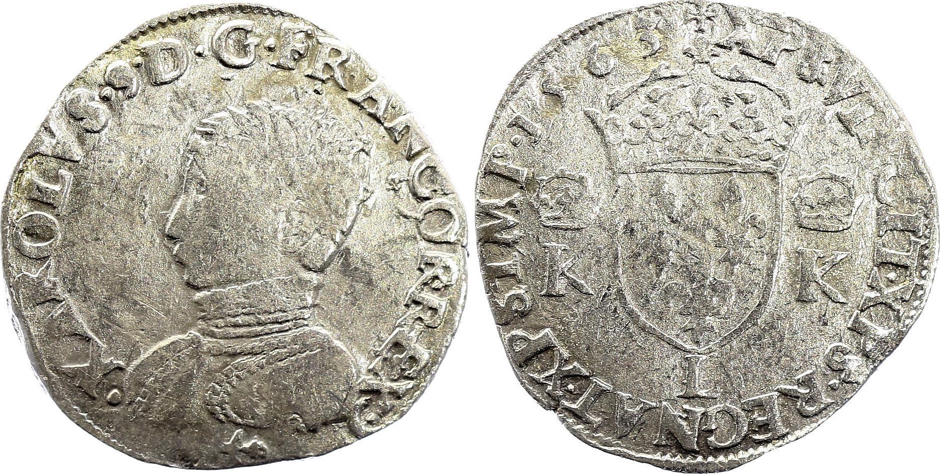 France Teston Charles IX - 1563 L Bayonne  - Argent - 4 ème type - TB