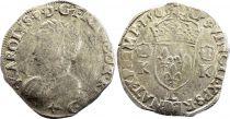 France Teston Charles IX - 1565 L Bayonne  - Argent - 4 ème type - TB