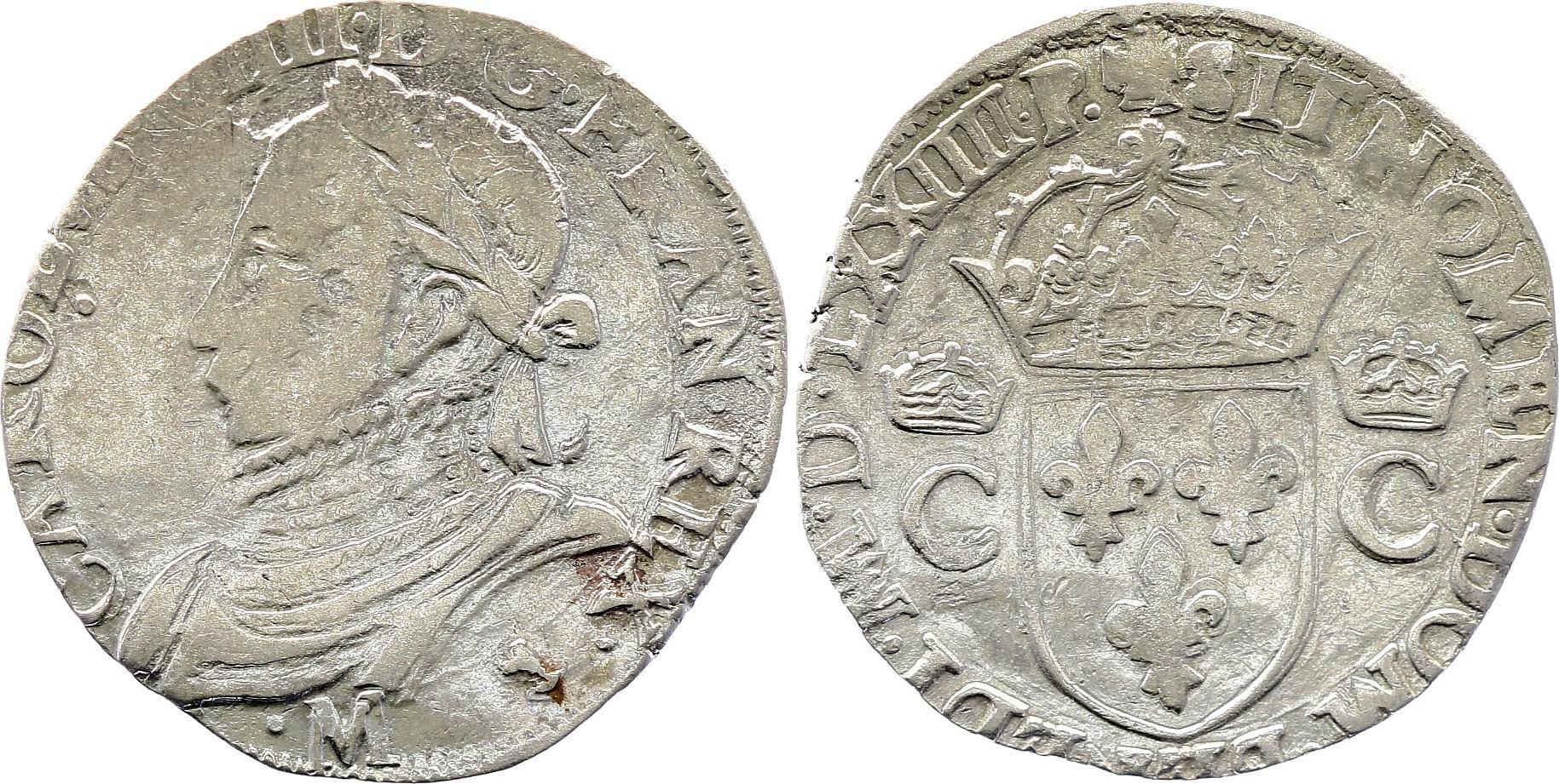 France Teston Charles IX - 1574 M Toulouse - Argent - 10 ème type - TTB