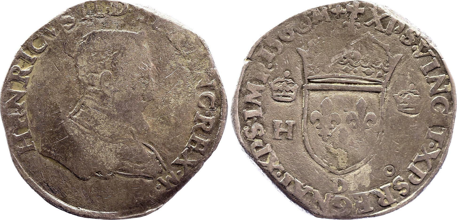 France Teston François II au nom de Henri II - 1560 D Lyon - B+  - Argent - 1er type