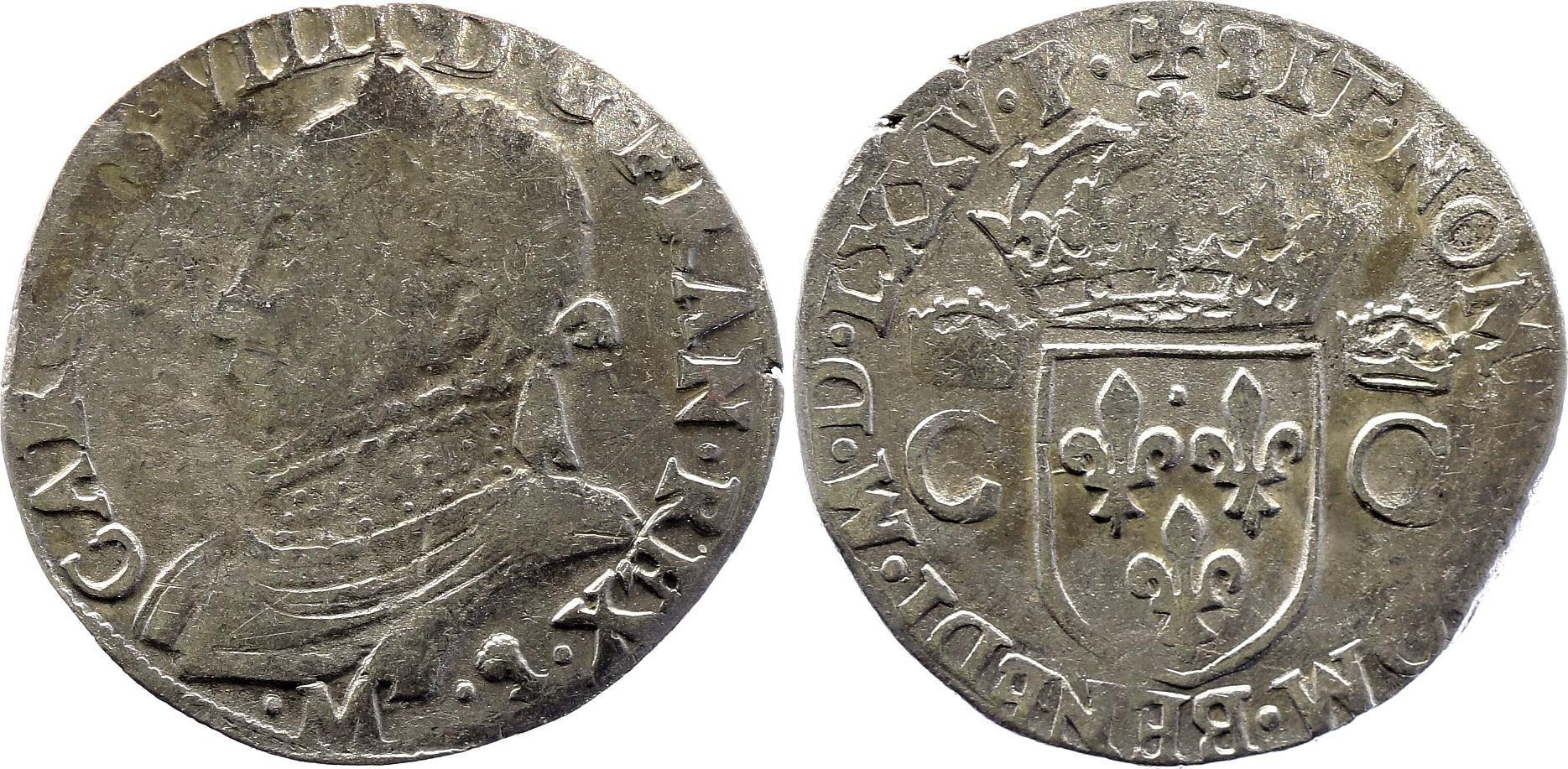France Teston Henri III au nom de Charles IX - 1575 M Toulouse - Argent - 10 ème type - TB