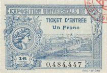 France Ticket 1 Franc Exposition Universelle de PARIS - 1900 - valant ticket entrée aux Jeux Olympiques