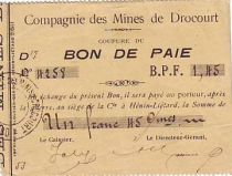 Francia 1,45 F Drocourt Cie. des mines Bon de paie