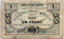 Francia 1 Franc Avesnes Et Solesmes City - 1916