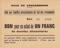 Francia 1 Franc Carcassonne Bon pour un achat de 1 franc de denrées alimentaires
