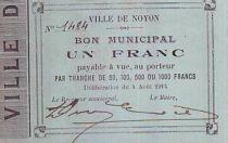 Francia 1 Franc Noyon City - 1914