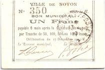 Francia 1 Franc Noyon City - 1915