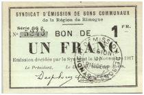 Francia 1 Franc Rimogne City - 1917
