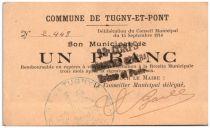 Francia 1 Franc Tugny-Et-Pont City - 1914