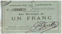Francia 1 Franc Vendeuil City - 1915