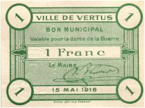 Francia 1 Franc Vertus City - 1916