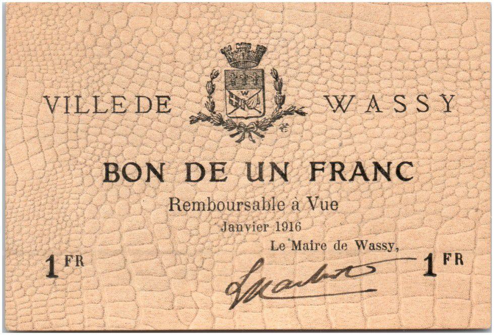 Francia 1 Franc Wassy City - 1916