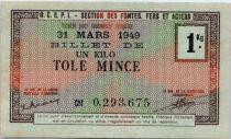 Francia 1 KG Tôle Mince , Bon de Matière O.C.R.P.I - Section des fontes, fers et aciers