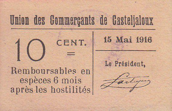 Francia 10 centimes Casteljaloux City