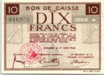 Francia 10 Francs , Colmar Chambre de Commerce, Serial A - 1940