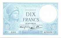 Francia 10 Francs 1939 - Serial H.72170   - Minerva