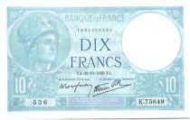 Francia 10 Francs 1939 - Serial K.75649  - Minerva