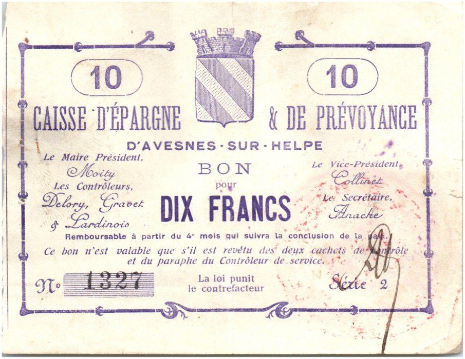Francia 10 Francs Avesnes-Sur-Helpe Caisse d´ép. prévoyance