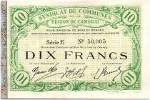 Francia 10 Francs Cambrai City - 1916