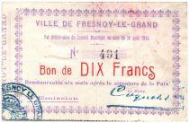 Francia 10 Francs Fresnoy-Le-Grand City - 1915