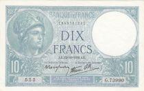 Francia 10 Francs Minerva - 12-10-1939 - Serial G.73990
