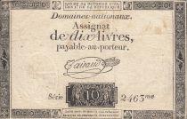 Francia 10 Livres Black on white Watermark Republique (24-10-1792) - Sign. Taisaud
