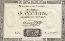 Francia 10 Livres Black Watermark Republique (24-10-1792) - French Revolution
